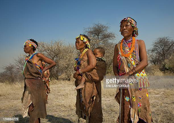 Women From The San Tribe in Namibia on August 22 2010 San are an ethnic group of South West Africa They live in the Kalahari Desert across the...