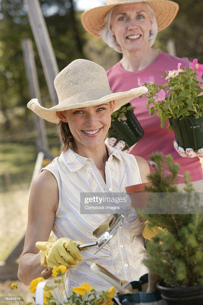 Women gardening : Stockfoto