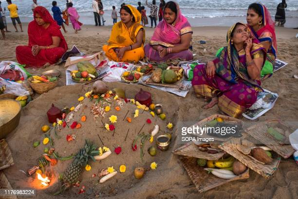 Women gather to worship the Sun god at Marina beach during the festival Chhath Puja is one of the vibrant and colorful festivals of India Mainly...