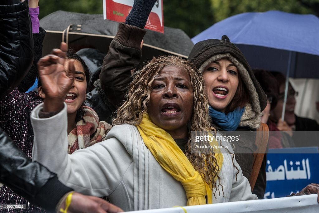 Women gathered at Burgiba street protest violence against women during the International Women's Day march in Tunis, Tunisia on March 8, 2015.