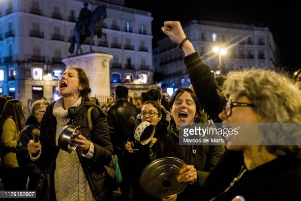 Women gathered in Sol Square making noise with pots and pans protesting as the 24 hours women strike starts in Spain and marking the beginning of 8th...