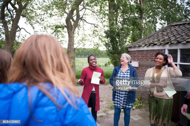 women getting to know one another - women's issues stock photos and pictures