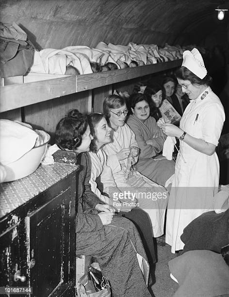 Women girls and babies in an air raid shelter run by the Salvation Army in Clapton east London during the London Blitz 5th October 1940