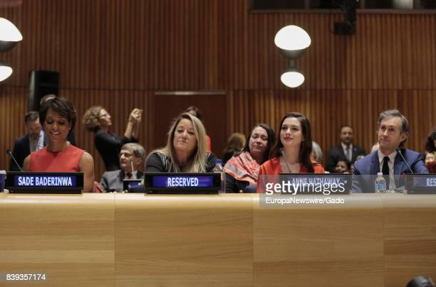 UN Women Global Goodwill Ambassadors Anne Hathaway and Sade Baderinwa during the observance of International Women's Day at UN headquarters in New...