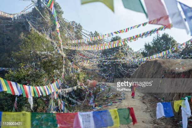 Women go up the mountain surrounded by prayer flags to work in the Thrangu Tashi Yangtse Monastery Kavrepalanchok District Bagmati Zone Nepal in...