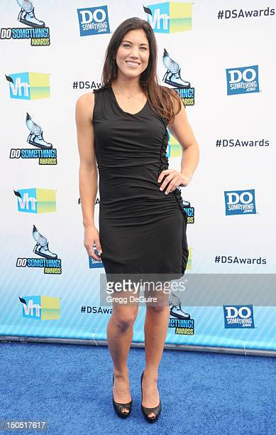 USA women goalkeeper Hope Solo arrives at the 2012 Do Something Awards at Barker Hangar on August 19 2012 in Santa Monica California
