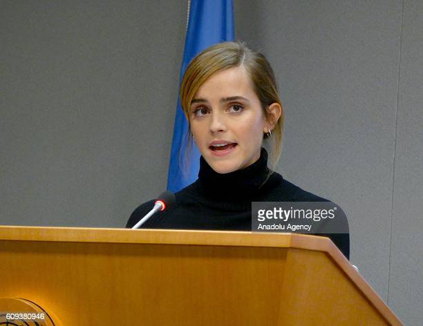 Women Goodwill Ambassador actress Emma Watson makes a speech at the launch of the HeForShe IMPACT 10x10x10 University Parity Report at the United...