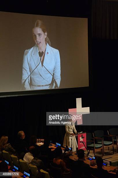 Women Goodwill Ambassador Emma Watson speaks during the ''HeForShe'' United Nations campaign meeting in New York United States on September 20 2014