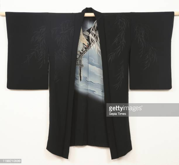 Women haori with Ono no Tofu and frog Haori for a woman with on the lining a decoration of a man in classical court clothes on a wooden bridge and a...