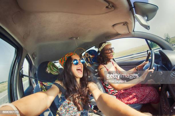 Women having fun in a road trip