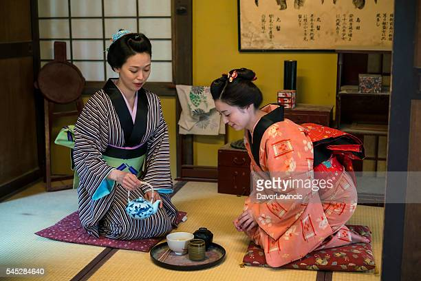 Women having traditional Japanese tea in Kyoto Japan