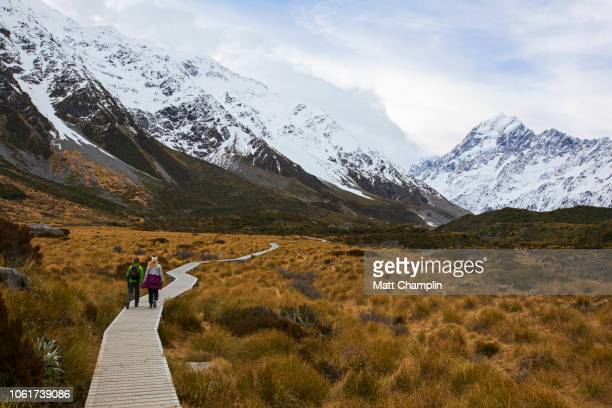Women Hiking in New Zealand in Mt. Cook National Park