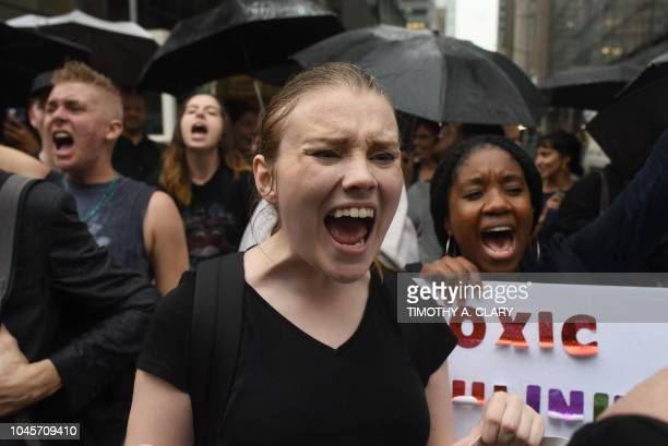 TOPSHOT Women hold a protest in front of Trump Tower in New York on October 4 2018 against Supreme Court nominee Brett Kavanaugh Top Republicans...