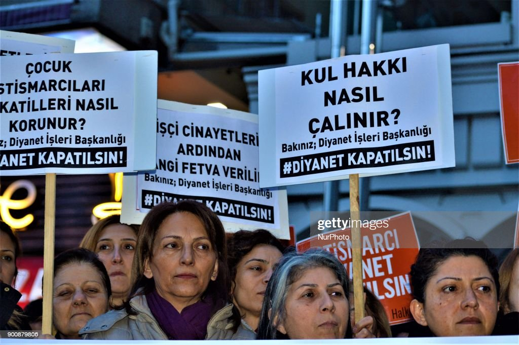 Women hold up placards as they gathered to protest against Turkey's Presidency of Religious Affairs in Ankara, Turkey on January 3, 2018. The Turkish Presidency of Religious Affairs has stated on its official website that 9-year-old girls and 12-year-old boys are able to get married, the opposition media claimed on January 2.