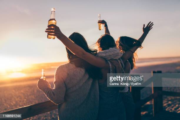 women holding beer bottles while standing by railing against sea during sunset - amigas fotografías e imágenes de stock