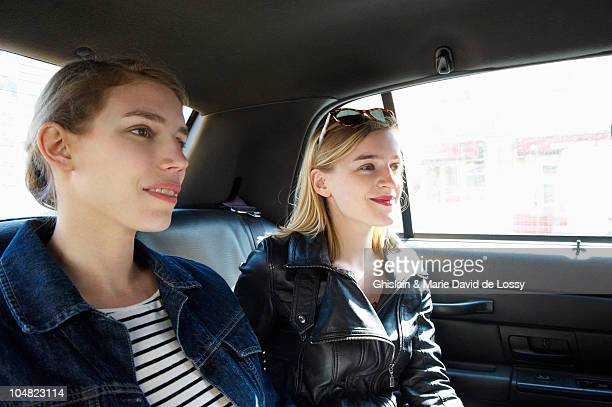 Women in a taxi