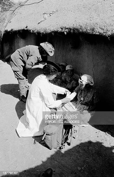 Women in a village treated by women members of ALN National Liberation Army on September 13 1962 in Algeria
