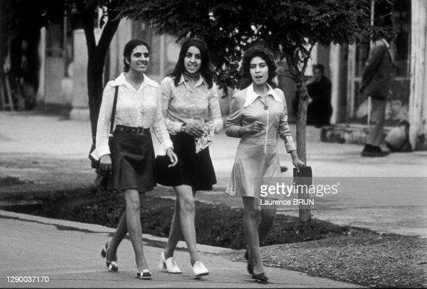 Women in Afghanistan, 1972: young students wearing mini-skirts walking down the street in city of Kabul. In the Shar-e-Naü area , a few emancipated...