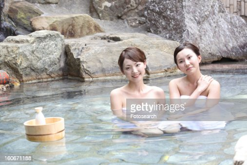. Women In An Openair Bath Stock Photo   Getty Images