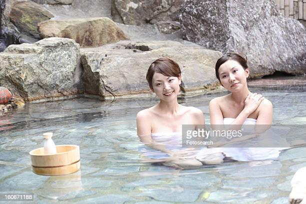 Women in an open-air bath