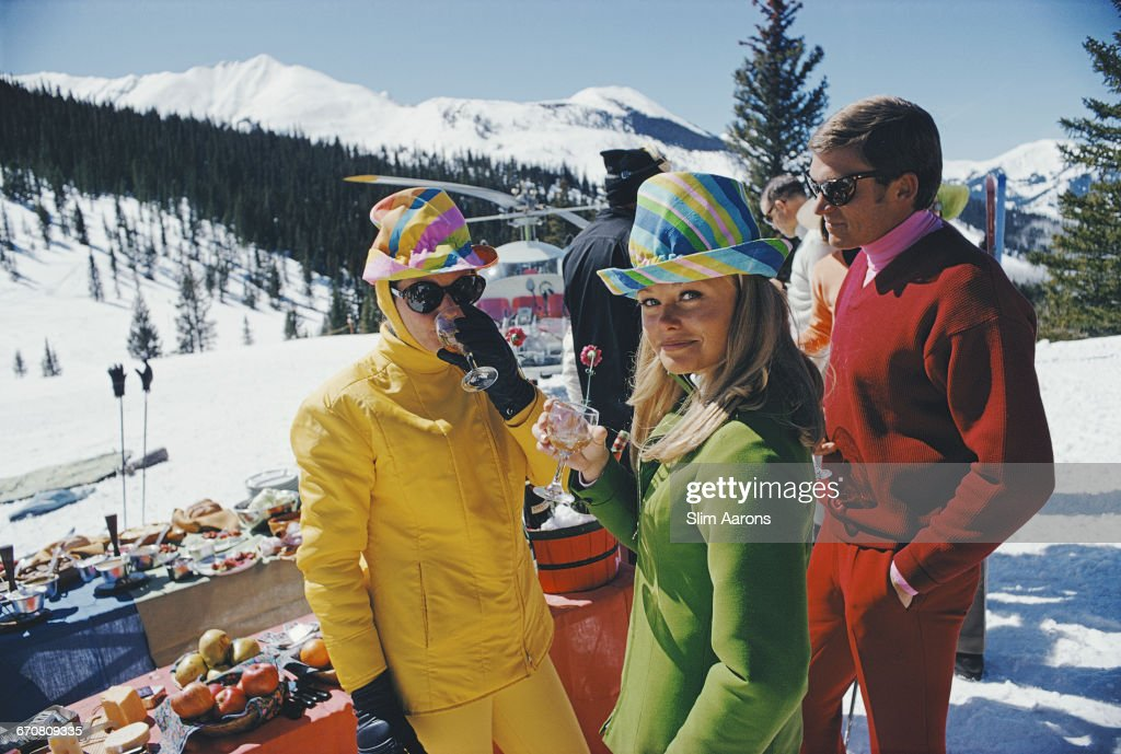 Women in colourful hats at an apres ski party in Snowmass Village, in Pitkin County, Colorado, in March 1968.