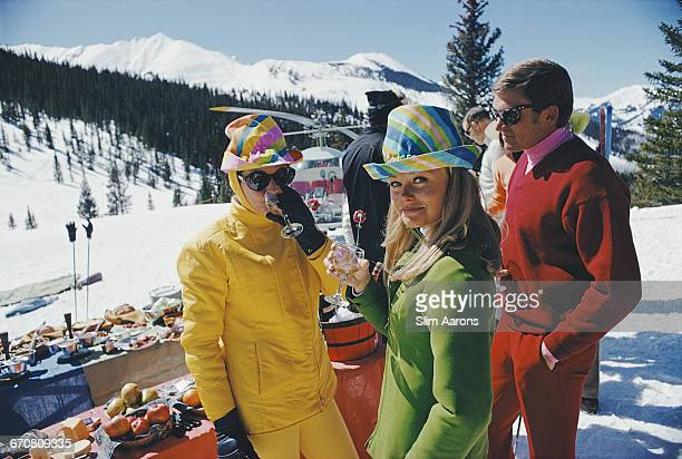 Women in colourful hats at an apres ski party in Snowmass Village in Pitkin County Colorado in March 1968