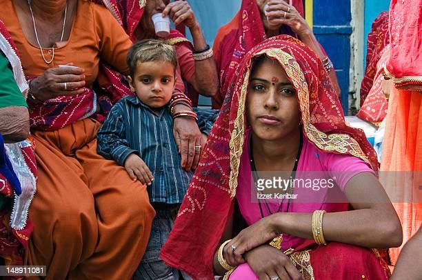 Women in colourful saris at Pushkar Fair.