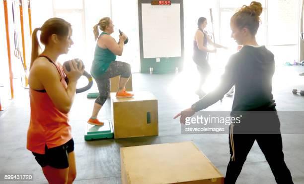 Women in cross training class exercising.