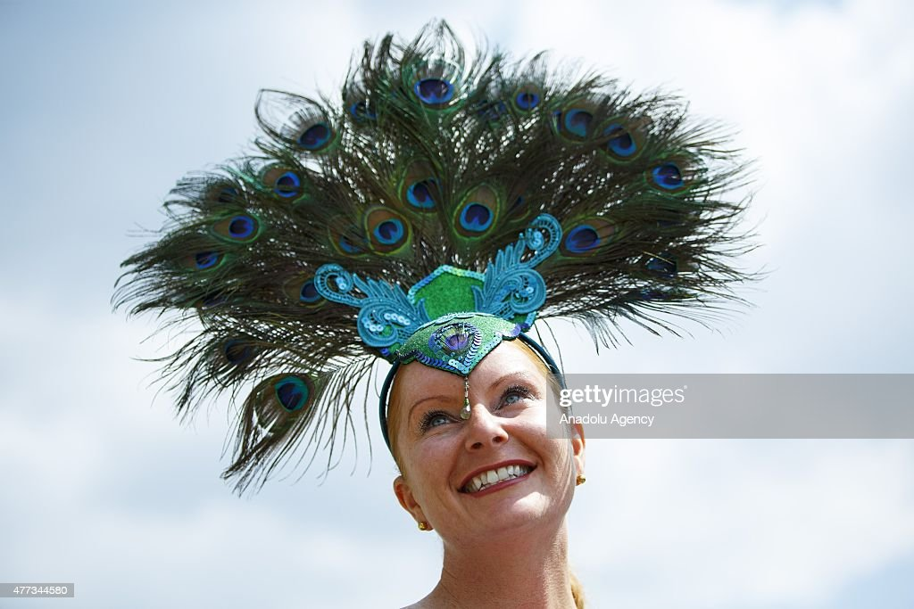 Women in elaborate hats attending day one of Royal Ascot at Ascot racecourse in Berkshire, on June 16, 2015. The 5 day showcase event, which is one of the highlights of the racing calendar, has been held at the famous Berkshire course since 1711 and tradition is a hallmark of the meeting. Top hats and tails remain compulsory in parts of the course.