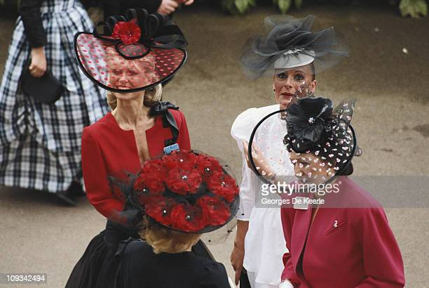 Women in elaborate headgear during Ladies Day at Ascot including milliner Eda Rose 18th June 1987