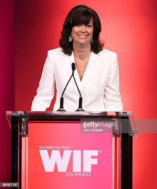 Women In Film president Jane Fleming speaks onstage at the Women In Film 2009 Crystal Lucy Awards at the Hyatt Regency Century Plaza on June 12 2009...
