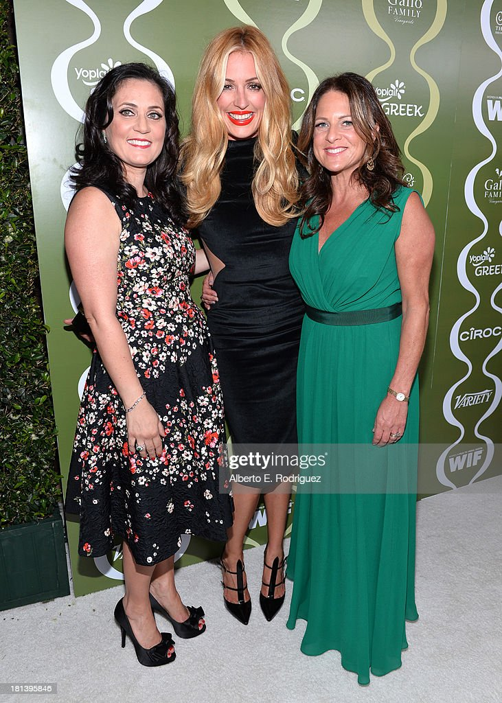 Women in Film (WIF) TV & Media Committee Chairman Danica Krislovich, TV personality Cat Deeley, and Women In Film (WIF) President Cathy Schulman attend Variety & Women In Film Pre-Emmy Event presented by Yoplait Greek at Scarpetta on September 20, 2013 in Beverly Hills, California.