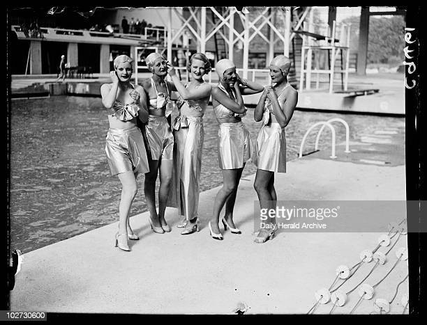 Women in futuristic swimwear 1934 A photograph of a group of women dressed in futuristic swimwear by a pool taken by Edward Malindine for the Daily...