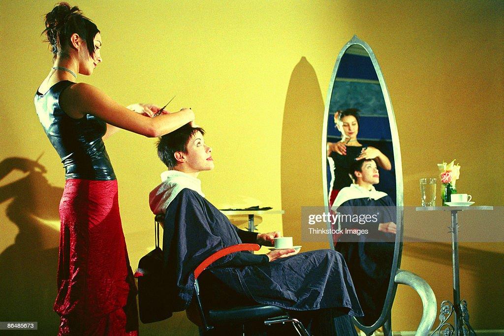 Women in hair salon : Stock Photo