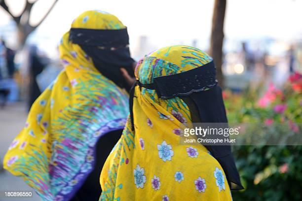 Women in hijab in the streets of Zanzibar.