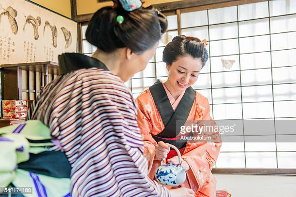 Women in Kimono Drinking Matcha Tea, Edo Period, Kyoto, Japan