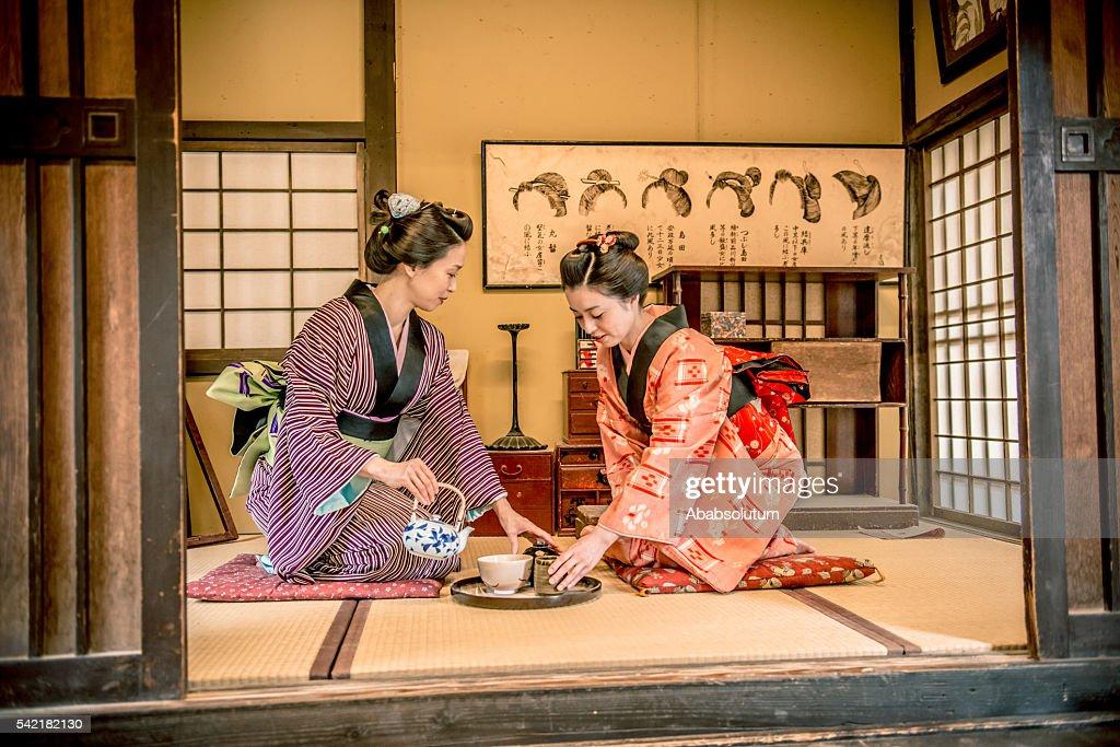 Women in Kimono Drinking Matcha Tea, Edo Period, Kyoto, Japan : Stock Photo