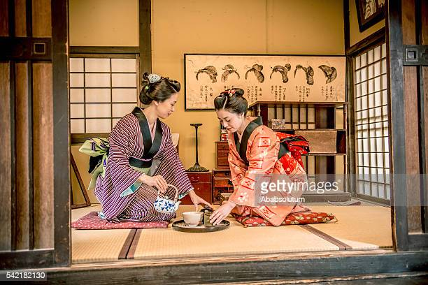 women in kimono drinking matcha tea, edo period, kyoto, japan - ceremony stock pictures, royalty-free photos & images