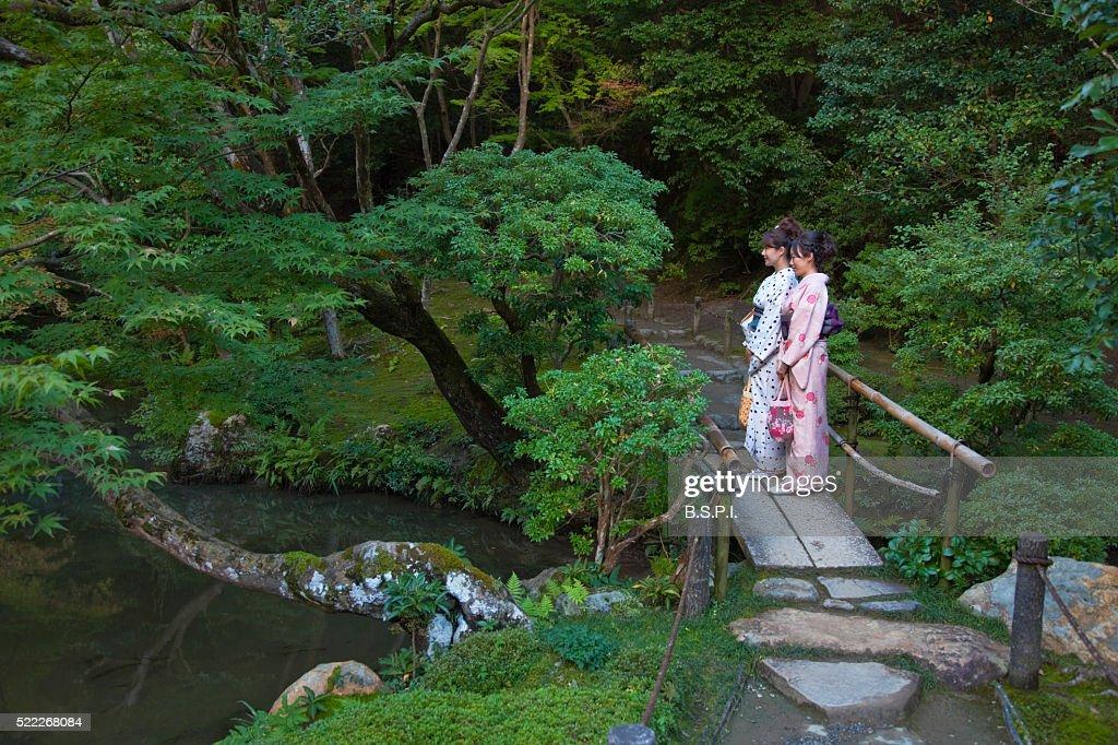 Women In Kimono On Zen Garden Bridge At Nanzenji Temple In Kyoto