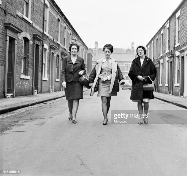Women in Middlesbrough North Yorkshire Left to right Betty a 46 year old invoice clerk Valerie a 22 year old bride to be Lily a 60 year old mother...