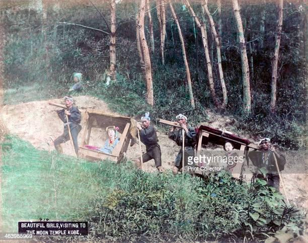 Women in palanquins visiting the Mayasan Kobe Japan