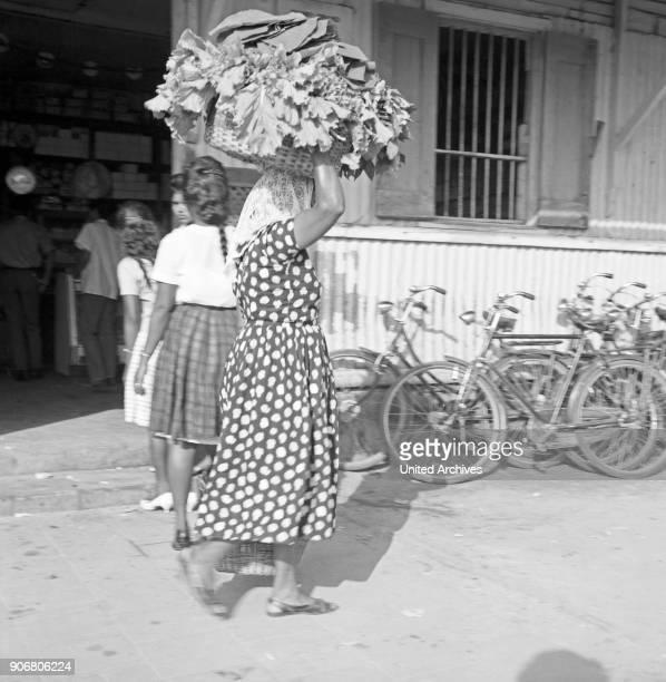 Women in Paramaribo carries basket on her head Suriname 1966