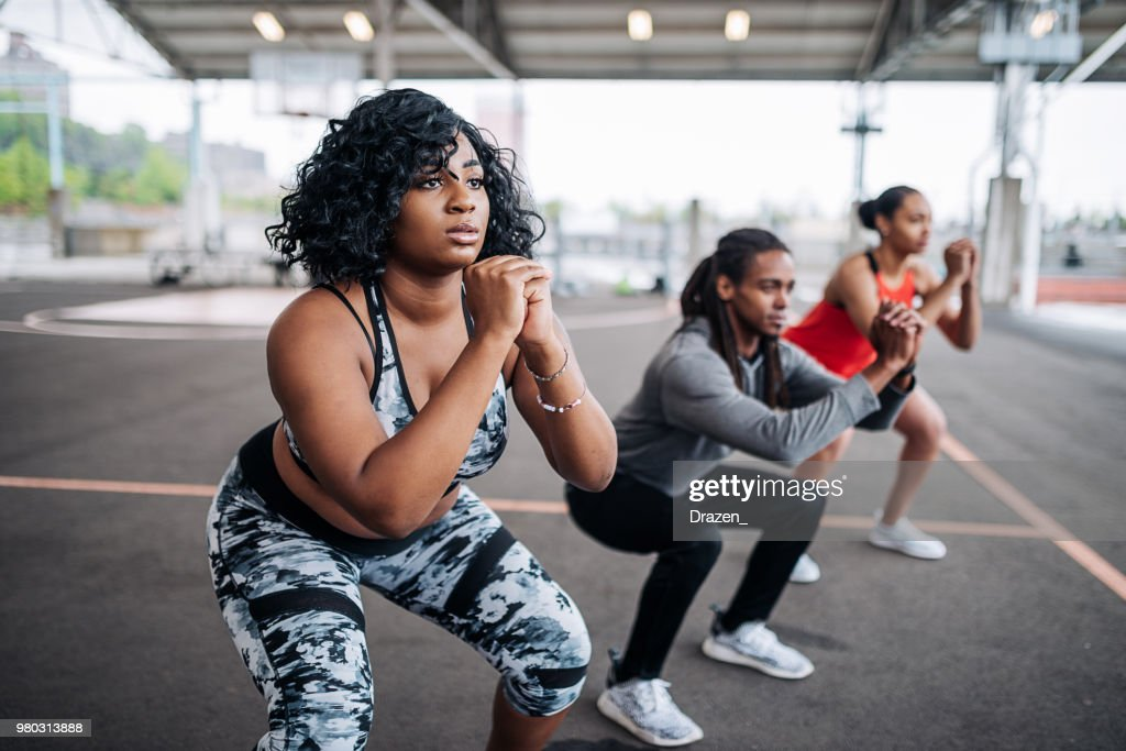 Obese woman on private session with female instructor : Foto de stock