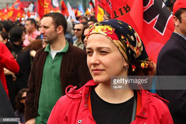 women in red - may day stock pictures, royalty-free photos & images