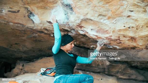 Women in Sport: A woman bouldering at Grampians, Victoria