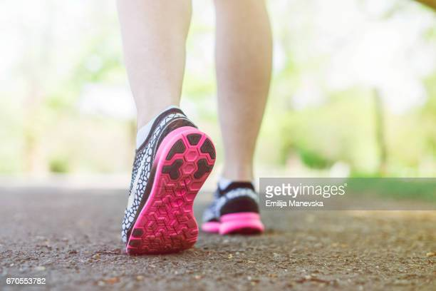 Women in Sport. Close-up of running shoes