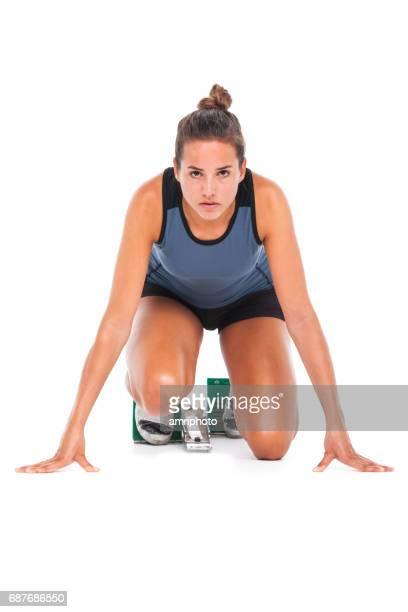 女性スポーツ、スプリンター開始ブロック ホワイト