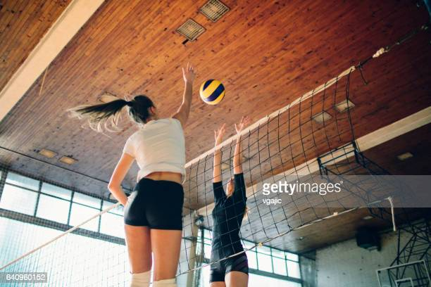 women in sport - volleyball - spiking stock photos and pictures