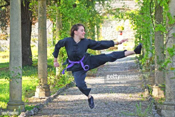 women in sport - young woman doing kung fu at public park - kung fu stock photos and pictures