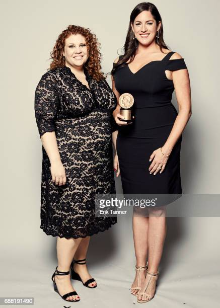 #MORETHANMEAN Women In Sports 'Face' Harassment team Julie DiCaro and Sarah Spain are photographed at the 76th Annual Peabody Awards at Cipriani Wall...